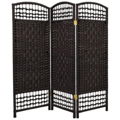 Oriental Furniture 4' Fiber Weave 3 Panel Room Divider