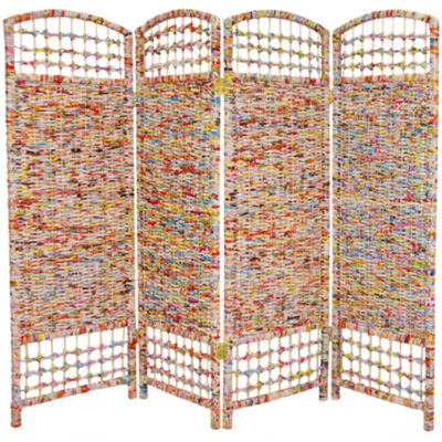 Oriental Furniture 4' Recycled Magazine 4 Panel Room Divider