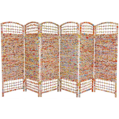 Oriental Furniture 4' Recycled Magazine 6 Panel Room Divider