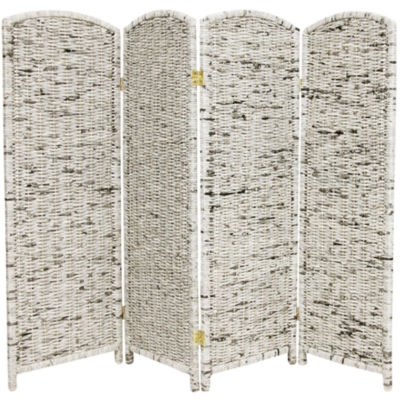 Oriental Furniture 4' Recycled Newspaper 4 Panel Room Divider