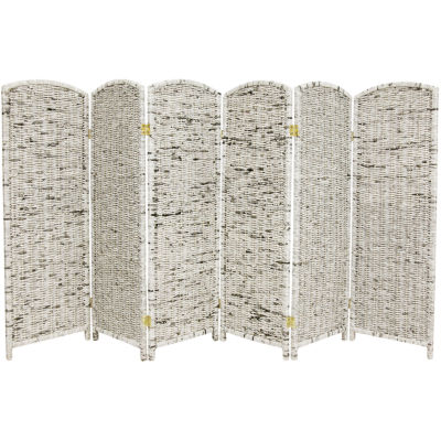 Oriental Furniture 4' Recycled Newspaper 6 Panel Room Divider