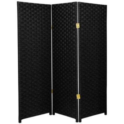 Oriental Furniture 4' Woven Fiber 3 Panel Room Divider