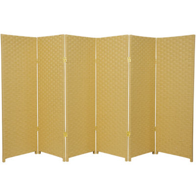 Oriental Furniture 4' Woven Fiber 6 Panel Room Divider