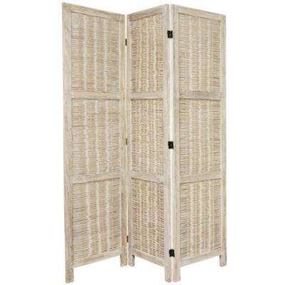 Oriental Furniture 5.5' Bamboo Matchstick Woven 3Panel Room Divider