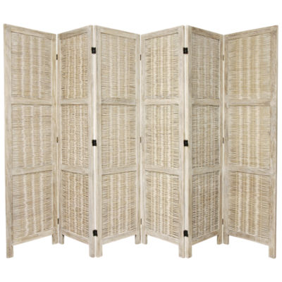 Oriental Furniture 5.5' Bamboo Matchstick Woven 6Panel Room Divider