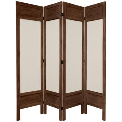 Oriental Furniture 5.5' Frame Fabric 4 Panel RoomDivider