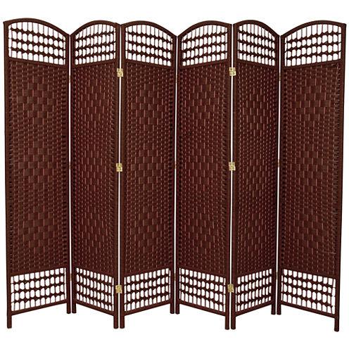 Oriental Furniture 5.5' Fiber Weave 6 Panel Room Divider