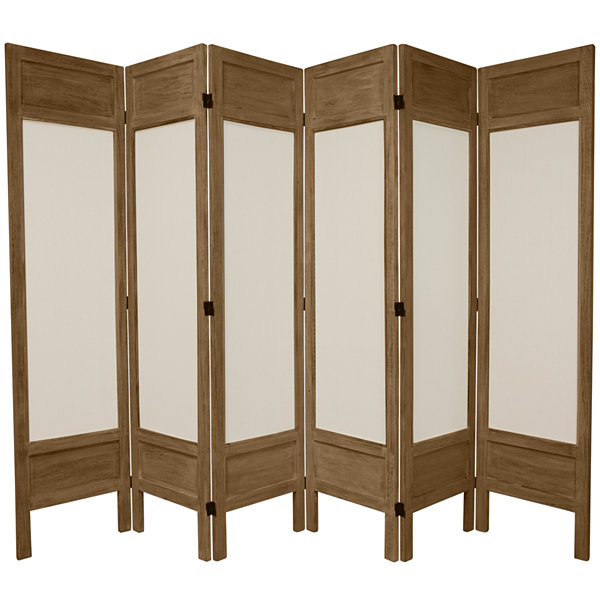 Oriental Furniture 5.5' Frame Fabric 6 Panel RoomDivider