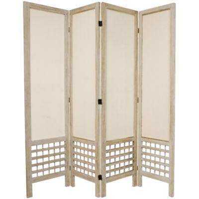 Oriental Furniture 5.5' Open Lattice 4 Panel RoomDivider