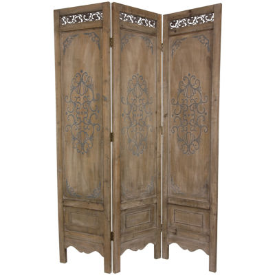 Oriental Furniture 6' Antiqued Scrollwork Room Divider