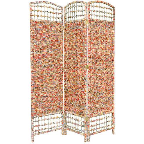 Oriental Furniture 5.5' Recycled Magazine 3 PanelRoom Divider