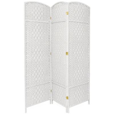 Oriental Furniture 6' Diamond Weave Fiber 3 PanelRoom Divider