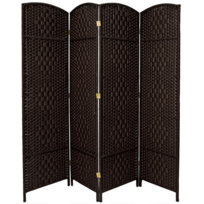 Oriental Furniture 6' Diamond Weave Fiber 4 PanelRoom Divider