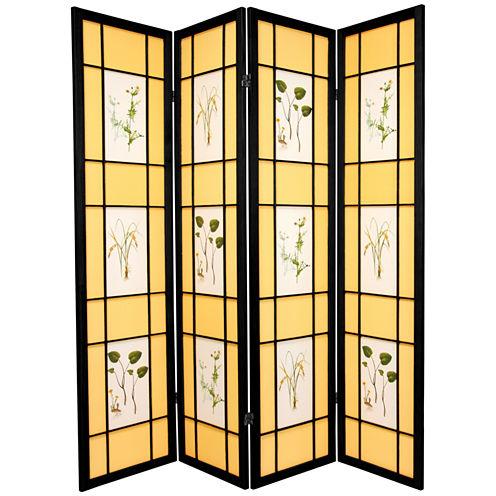 Oriental Furniture 6' Herbal Floral Shoji 4 PanelRoom Divider