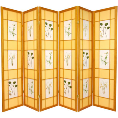 Oriental Furniture 6' Herbal Floral Shoji 6 PanelRoom Divider