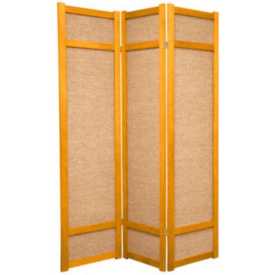 Oriental Furniture 6' Jute Shoji 3 Panel Room Divider