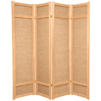 Oriental Furniture 6' Jute Shoji 4 Panel Room Divider