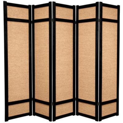 Oriental Furniture 6' Jute Shoji 5 Panel Room Divider