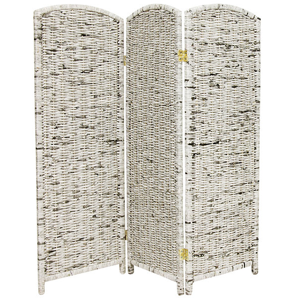 Oriental Furniture 4' Recycled Newspaper 3 Panel Room Divider