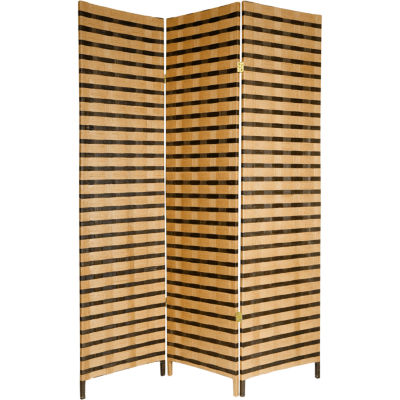 Oriental Furniture 6' Two Tone Fiber 3 Panel RoomDivider