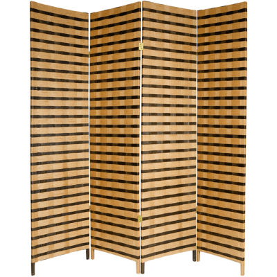 Oriental Furniture 6' Two Tone Fiber 4 Panel RoomDivider