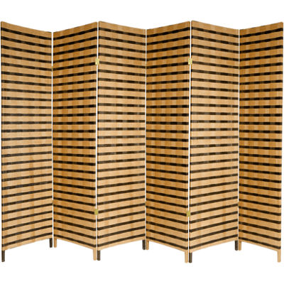 Oriental Furniture 6' Two Tone Fiber 6 Panel RoomDivider