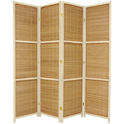 Oriental Furniture 6' Woven Accent 4 Panel Room Divider
