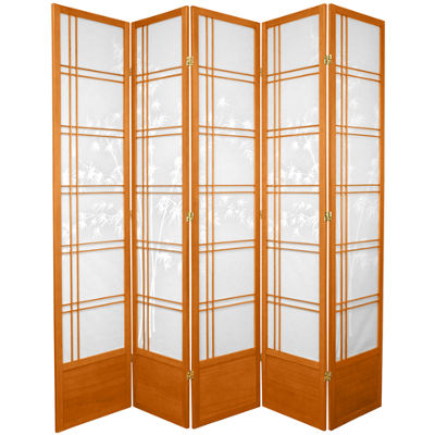 Oriental Furniture 7' Bamboo Tree Shoji 5 Panel Room Divider