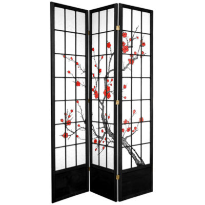 Oriental Furniture 7' Cherry Blossom 3 Panel RoomDivider