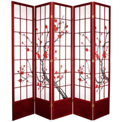 Oriental Furniture 7' Cherry Blossom 5 Panel RoomDivider