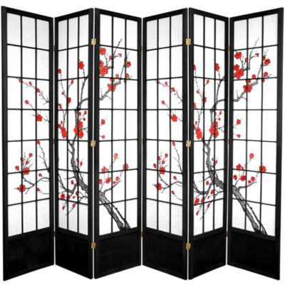 Oriental Furniture 7' Cherry Blossom 6 Panel RoomDivider
