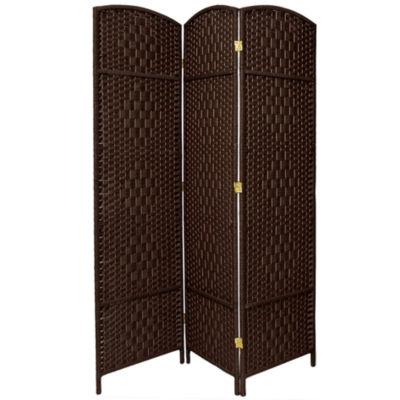 Oriental Furniture 7' Diamond Weave 3 Panel Room Divider