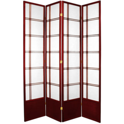 Oriental Furniture 7' Double Cross Shoji 4 Panel Room Divider