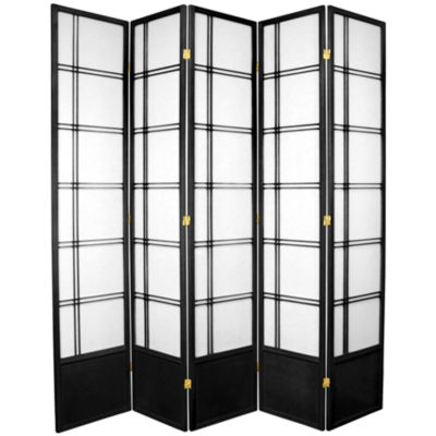 Oriental Furniture 7' Double Cross Shoji 5 Panel Room Divider