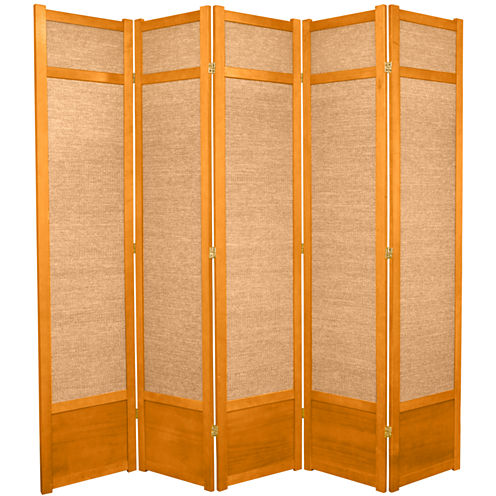 Oriental Furniture 7' Jute Shoji 5 Panel Room Divider