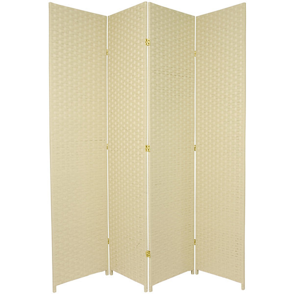 Oriental Furniture 7' Woven Fiber 4 Panel Room Divider