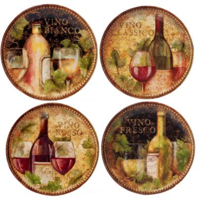 Certified International Gilded Wine 4-pc. Salad Plate
