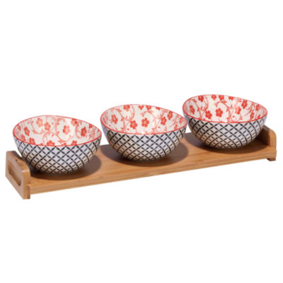 Certified International Red Floral 4-pc. Serving Set
