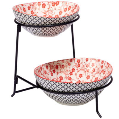 Certified International Red Floral Tiered Server