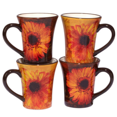 Certified International Gerber Daisy 4-pc. Coffee Mug