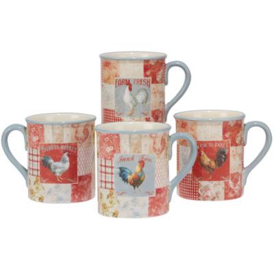 Certified International Farm House Rooster 4-pc. Coffee Mug