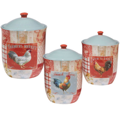 Certified International Farm House Rooster 3-pc. Canister