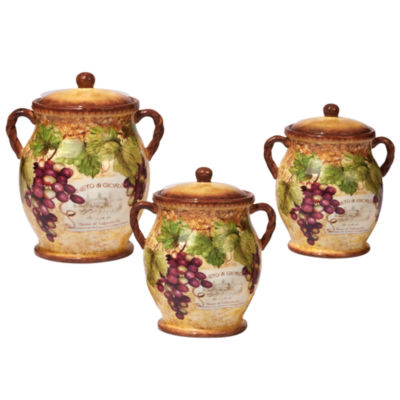 Certified International Gilded Wine 3-pc. Canister
