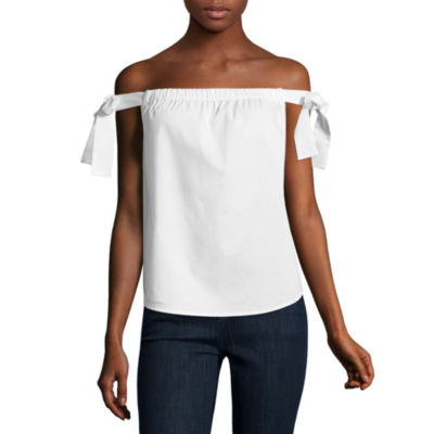 Belle + Sky Off The Shoulder Poplin Top