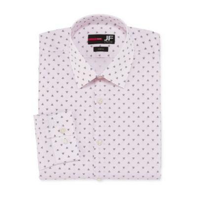 JF J.Ferrar Easy-Care Solid Big And  Tall Long Sleeve Broadcloth Geometric Dress Shirt