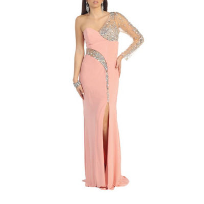 Sexy One Shoulder Long Sleeve Stretchy Prom Evening Gown