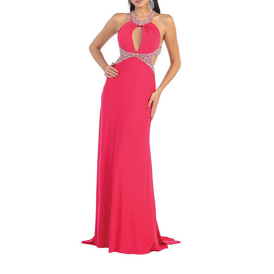 Sexy Exposed Back Halter Prom Dress