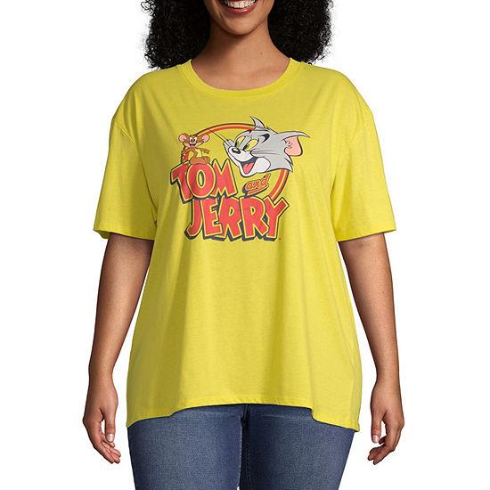 Womens Short Sleeve Round Neck Stripe T-Shirt- Juniors