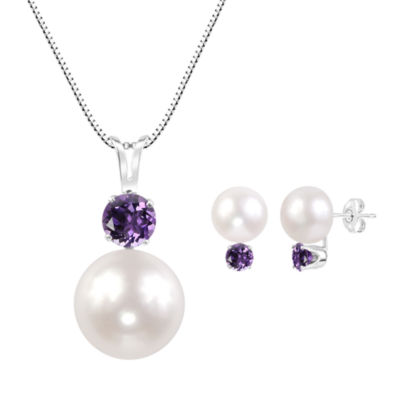 White Sterling Silver 2-pc. Jewelry Set