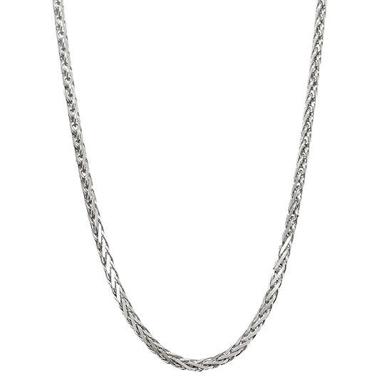 14K White Gold Diamond-Cut Wheat Chain Necklace